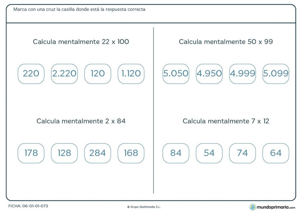 Ficha de calcular mentalmente multiplicaciones para cuarto de Primaria