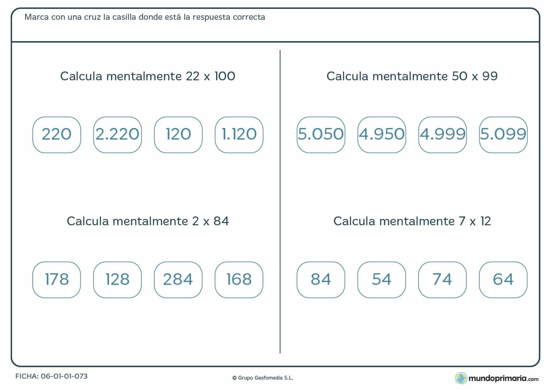 Ficha de calcular mentalmente multiplicaciones recomendada para alumnos de 4º de Primaria