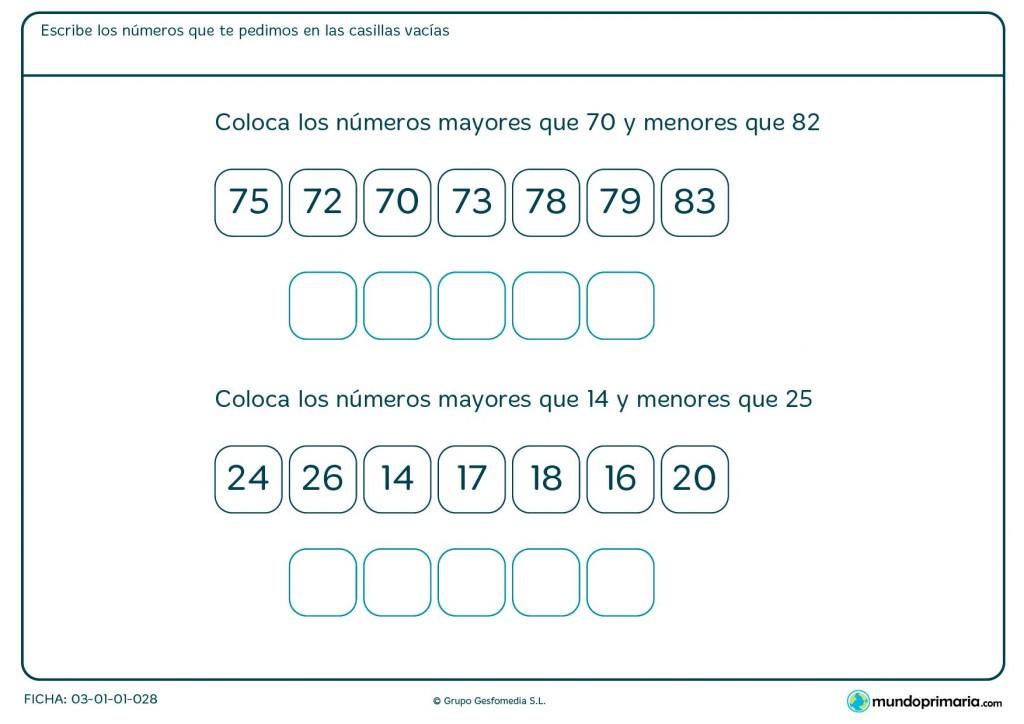Ficha de colocar números entre el 70 y 82 para Primaria