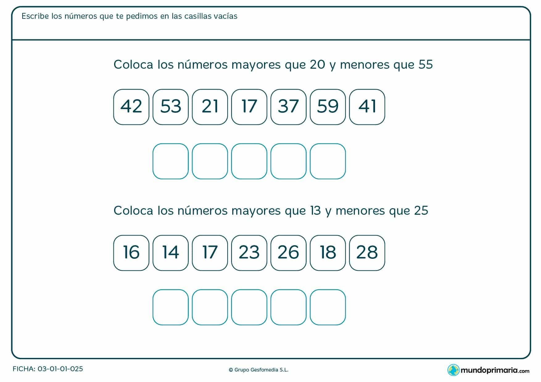 Ficha de colocar un intervalo de números que te vienen en el ejercicio en las casillas que se encuentran vacías