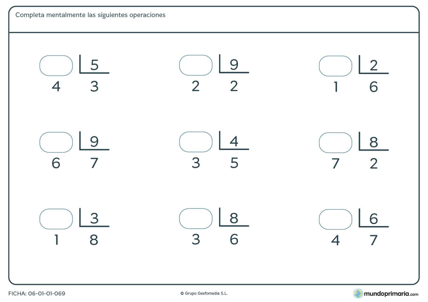 Ficha con nueve divisiones de las cuales hay que calcular el dividendo. Repasa hallando dividendos de divisiones
