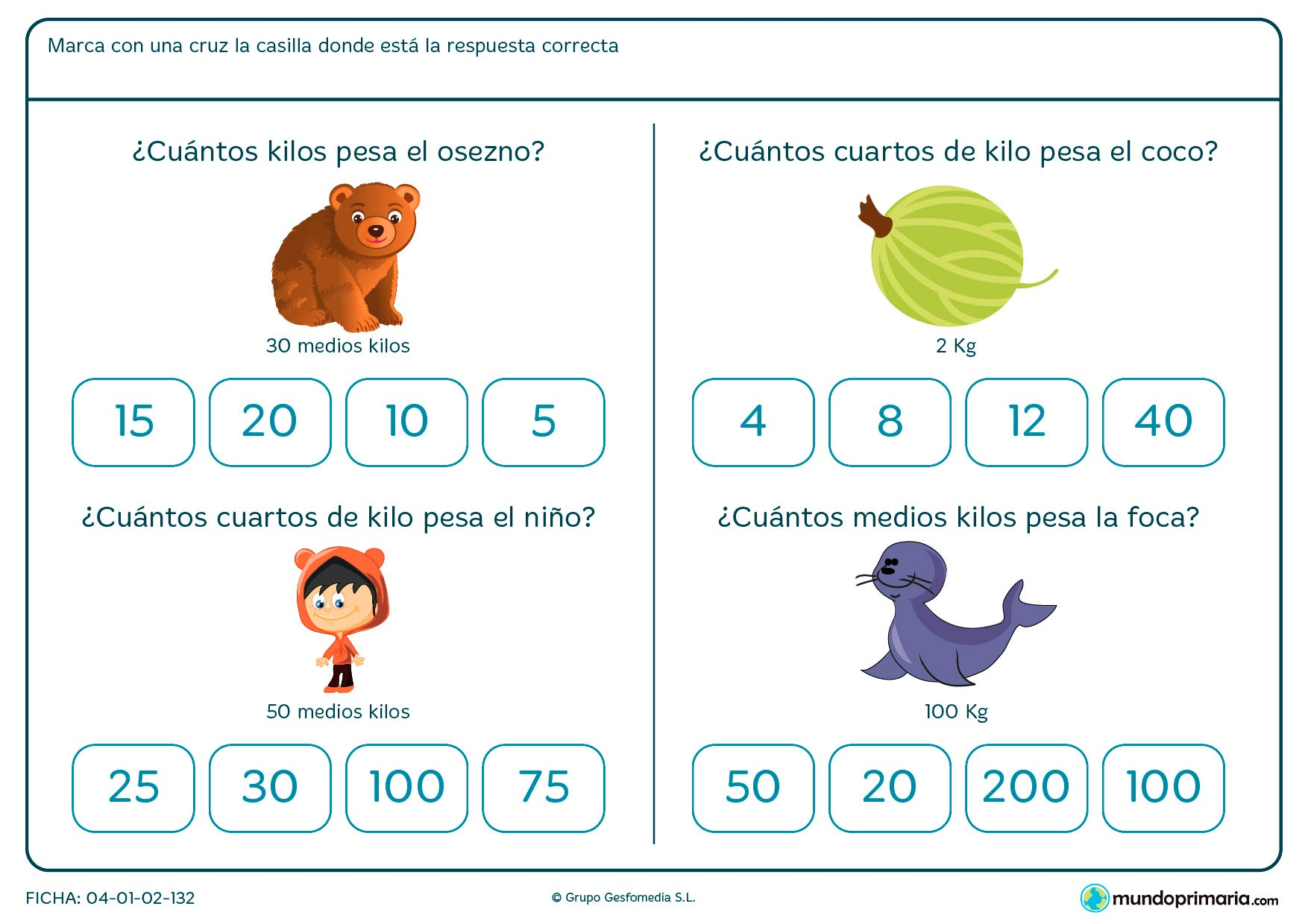 Ficha de correspondencia entre unidades de peso para niños de segundo de Primaria en la que seleccionarán la opción correcta de entre todas las posibles para la equivalencia entre unidades de peso.