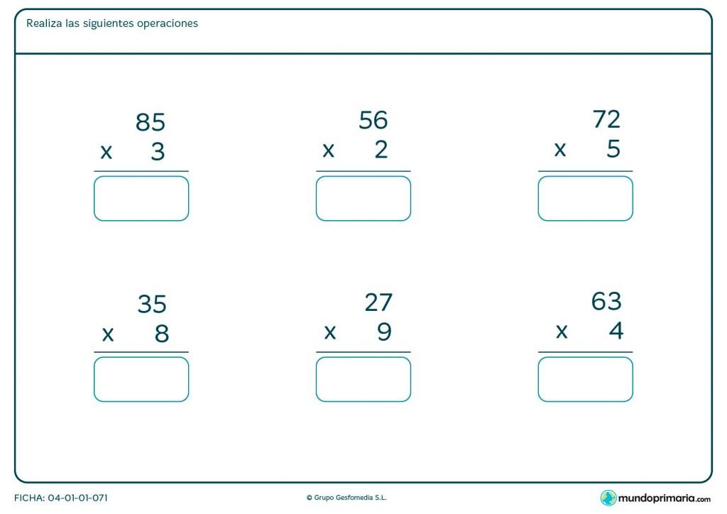 Ficha de dar el resultado de multiplicaciones fáciles para Primaria