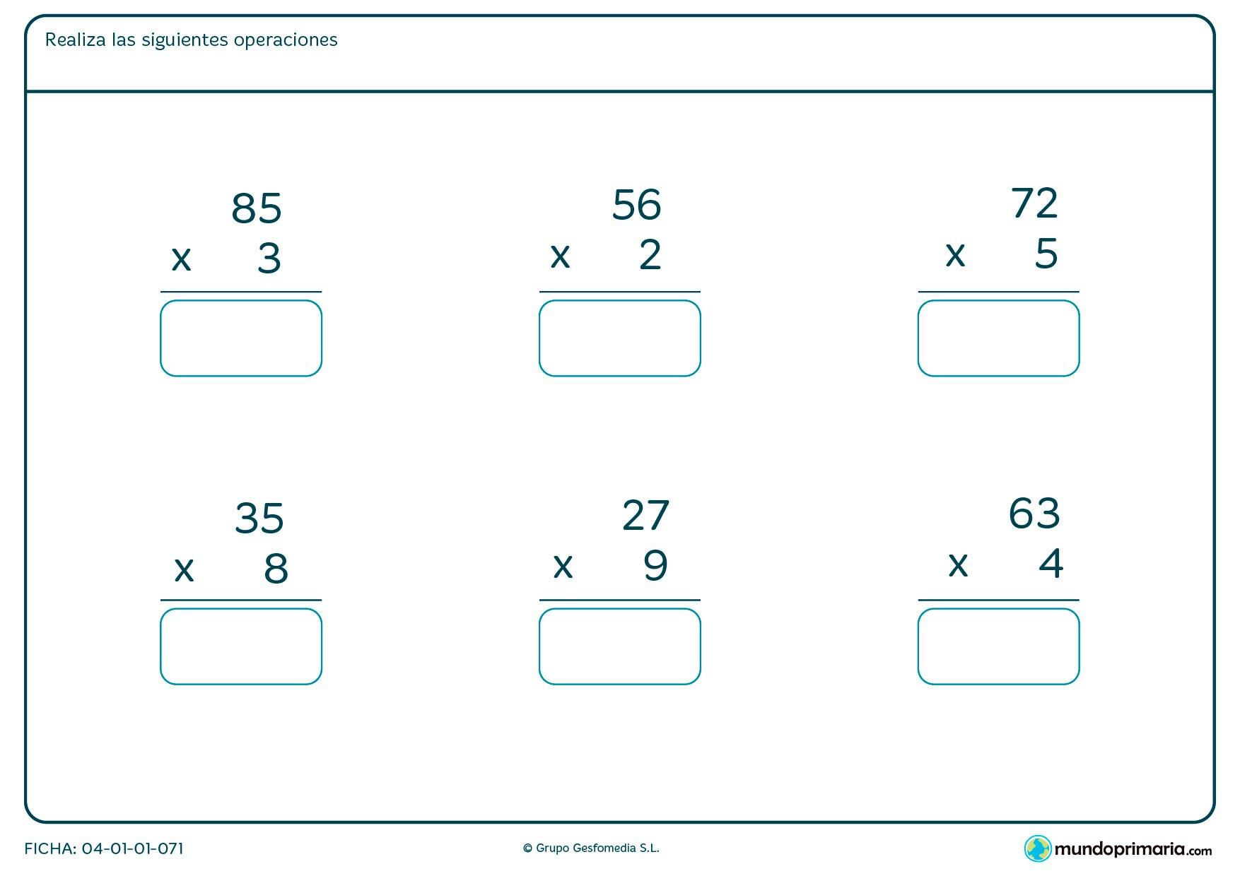 Ficha de dar el resultado de multiplicaciones fáciles para Primaria por la que los niños tendrán que solucionar las operaciones propuestas y escribir el resultado en el recuadro azul.