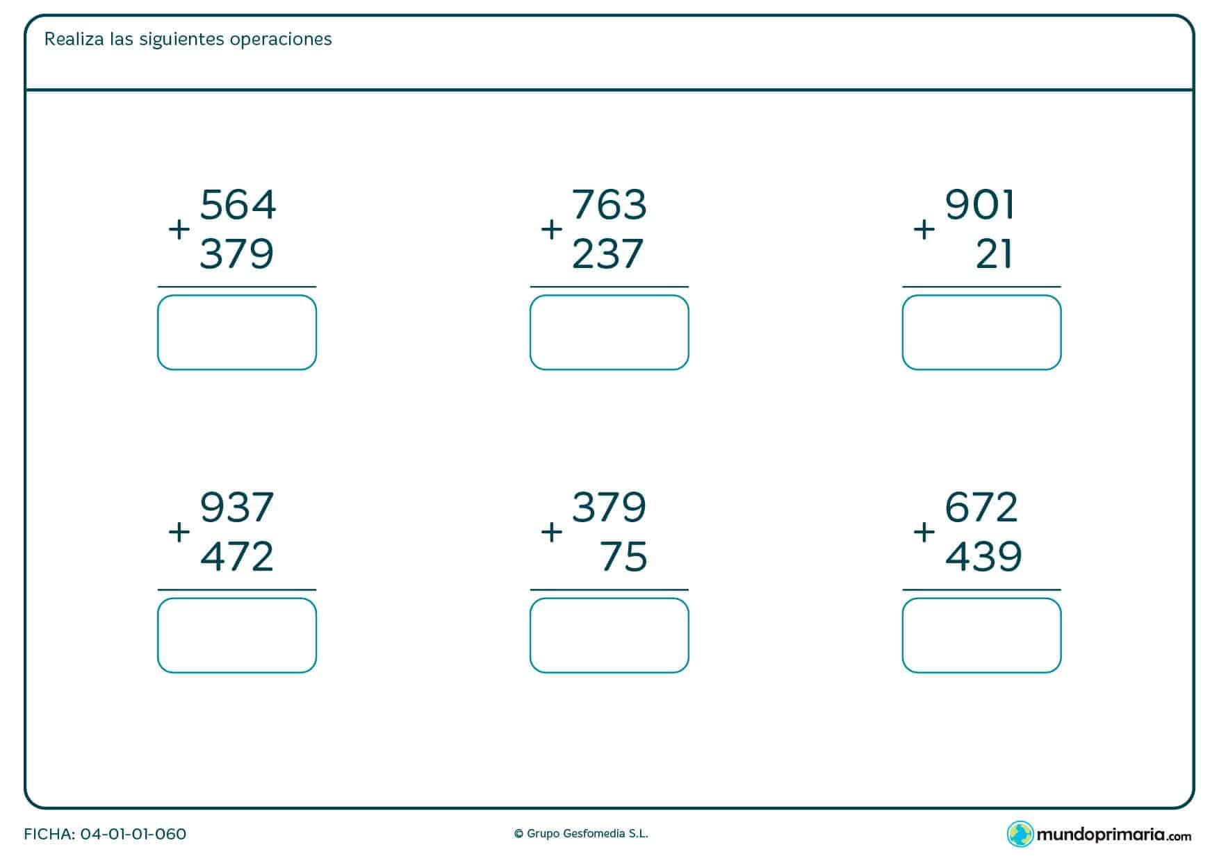 Ficha de dar el resultado de sumas de tres cifras para segundo de Primaria por la que los niños tendrán que resolver las restas de tres cifras que aparecen y escribir la solución bajo cada una de ellas.