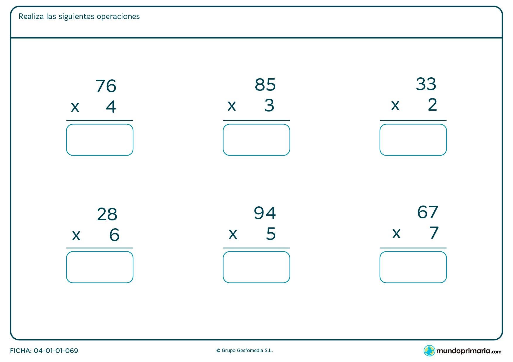 Ficha de dar la solución de multiplicaciones sencillas para segundo de Primaria por la que los niños tendrán que pensar el resultado de estas multiplicaciones y escribirlo en el recuadro.