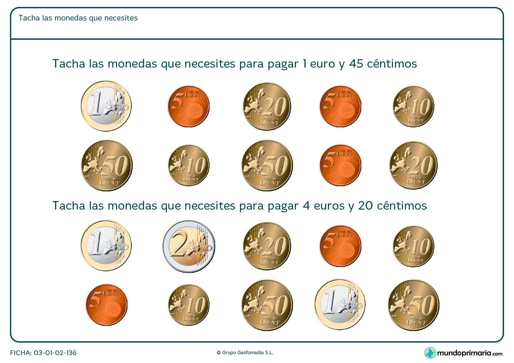 Ficha de dinero que hace falta en la que hay que calcular qué monedas necesitas para sumar la cantidad de dinero indicado.