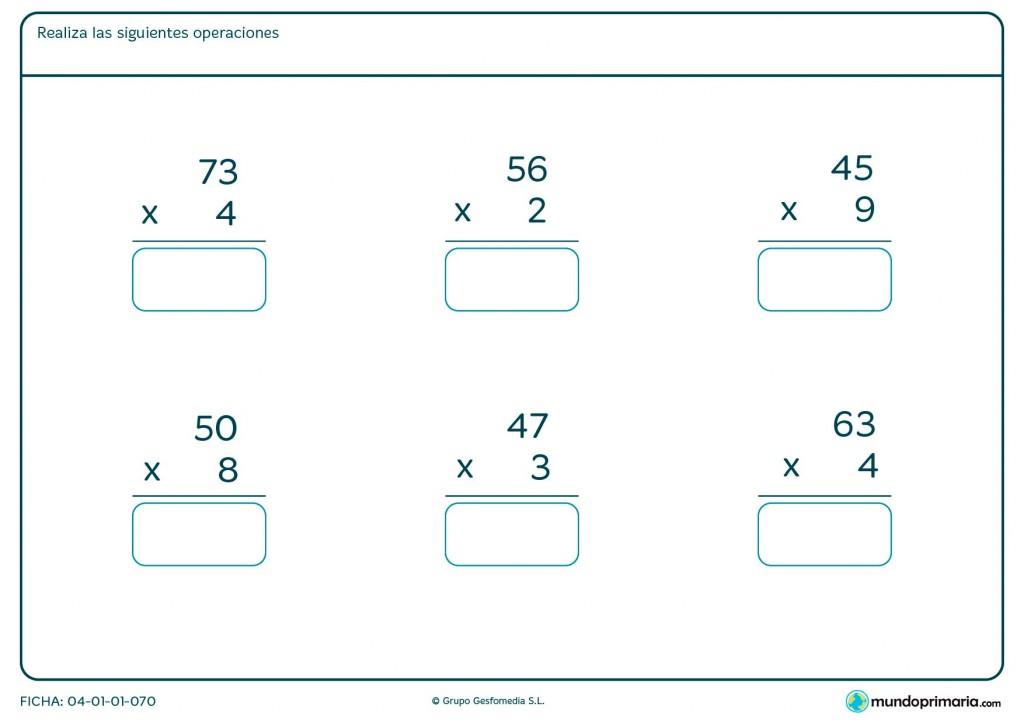 Ficha de escribir el resultado de multiplicaciones para Primaria