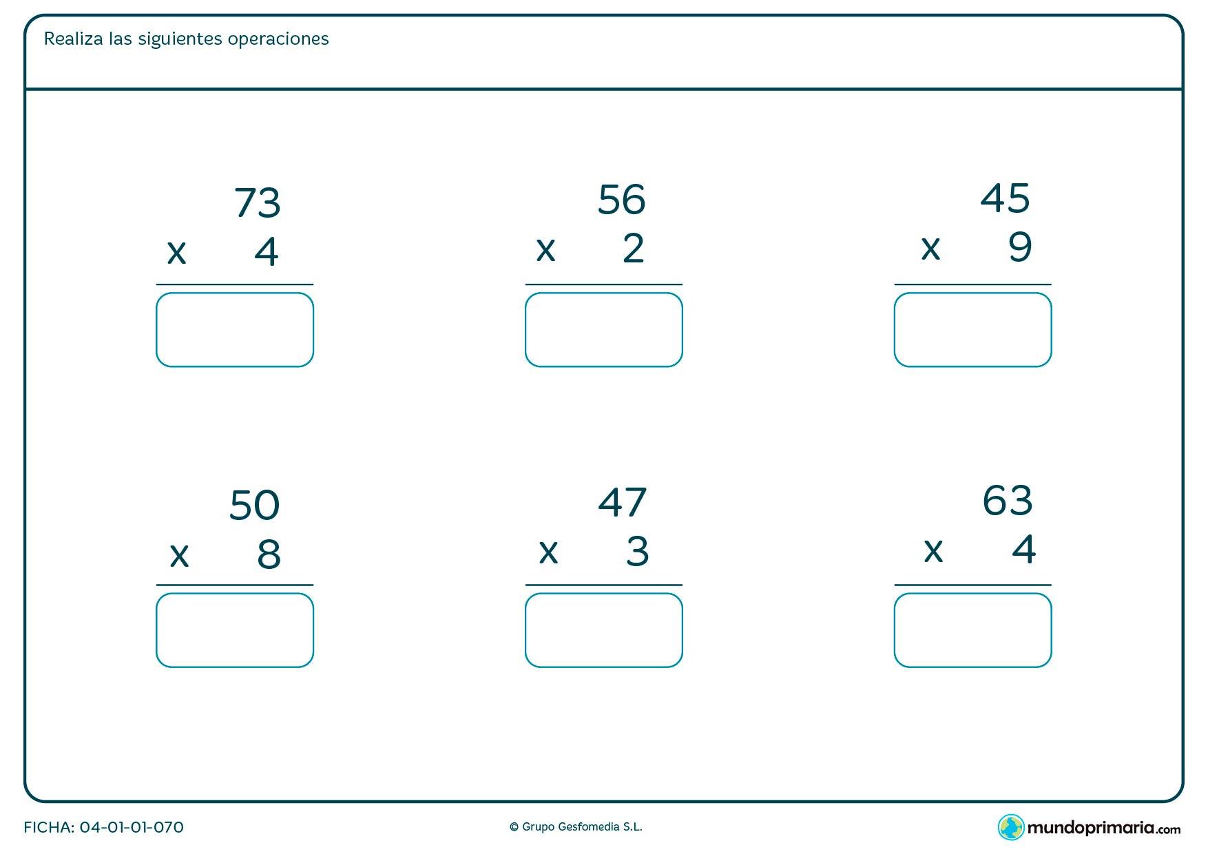 Ficha de escribir el resultado de multiplicaciones de siete a ocho años por la que tendrán que poner el resultado de cada operación en el cuadro de cada una de ellas.