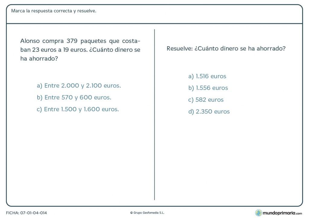 Ficha de estimaciones para resolver el enunciado para Primaria