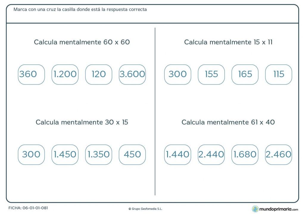 Ficha de hacer mentalmente multiplicaciones de 2 cifras para Primaria