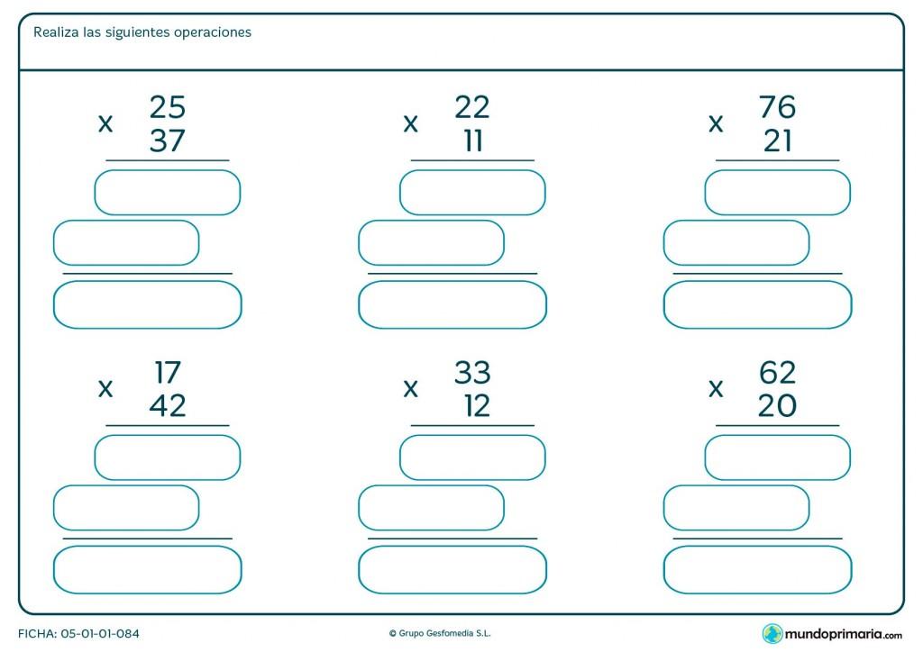 Ficha de hacer multiplicaciones de números de dos cifras para Primaria