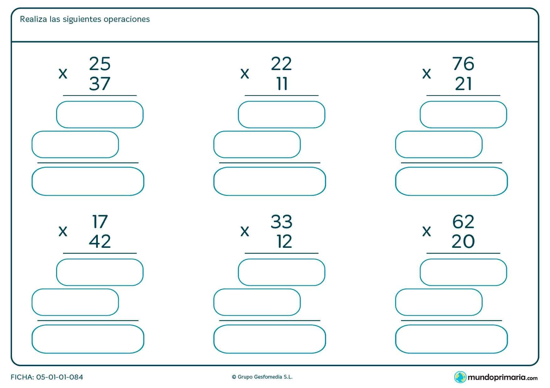 Resuelve estas ficha con multiplicaciones con llevada.