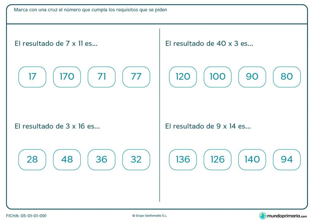 Ficha de hacer multiplicaciones horizontales para Primaria
