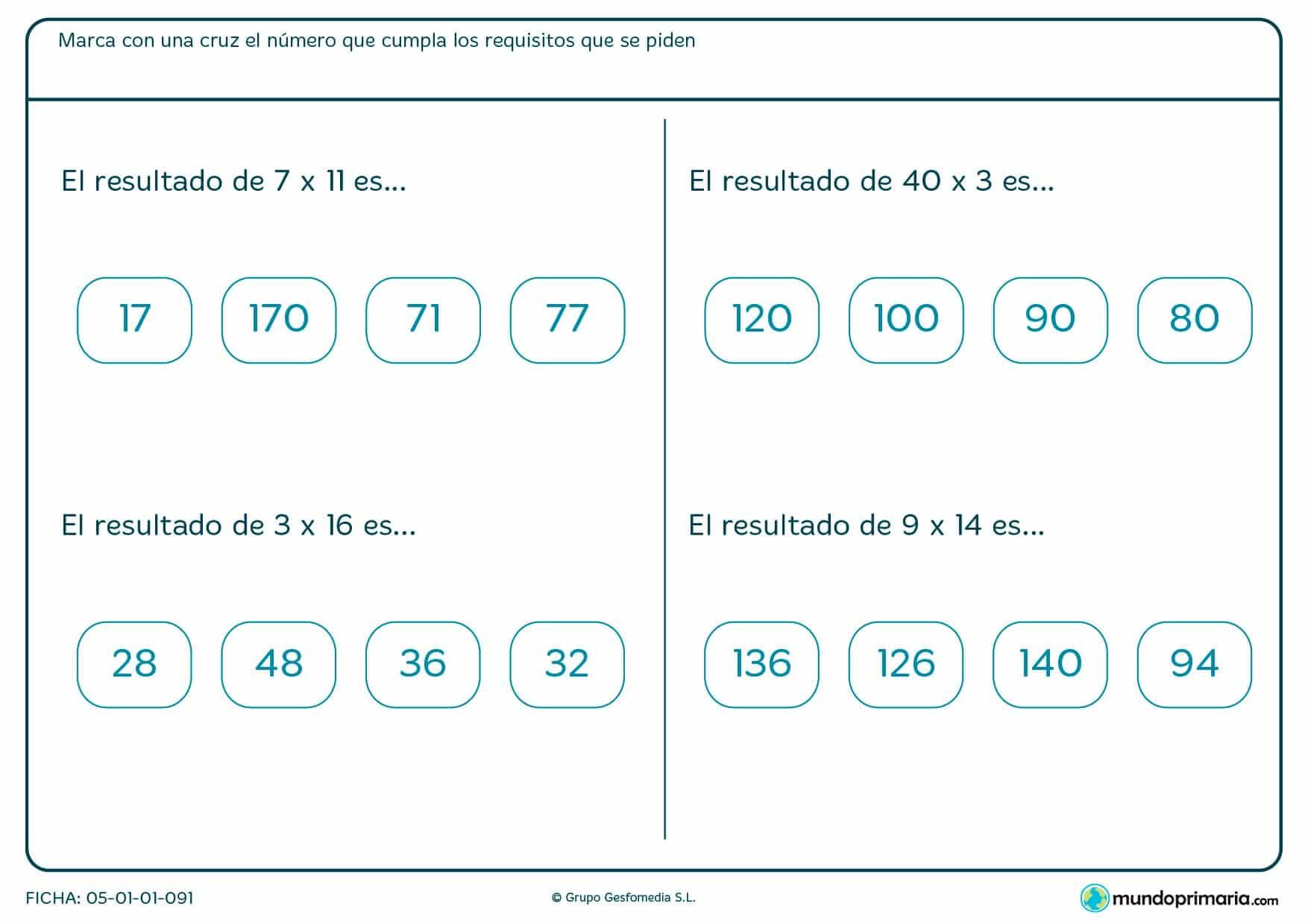 Resuelve estas cuatro multiplicaciones horizontales.