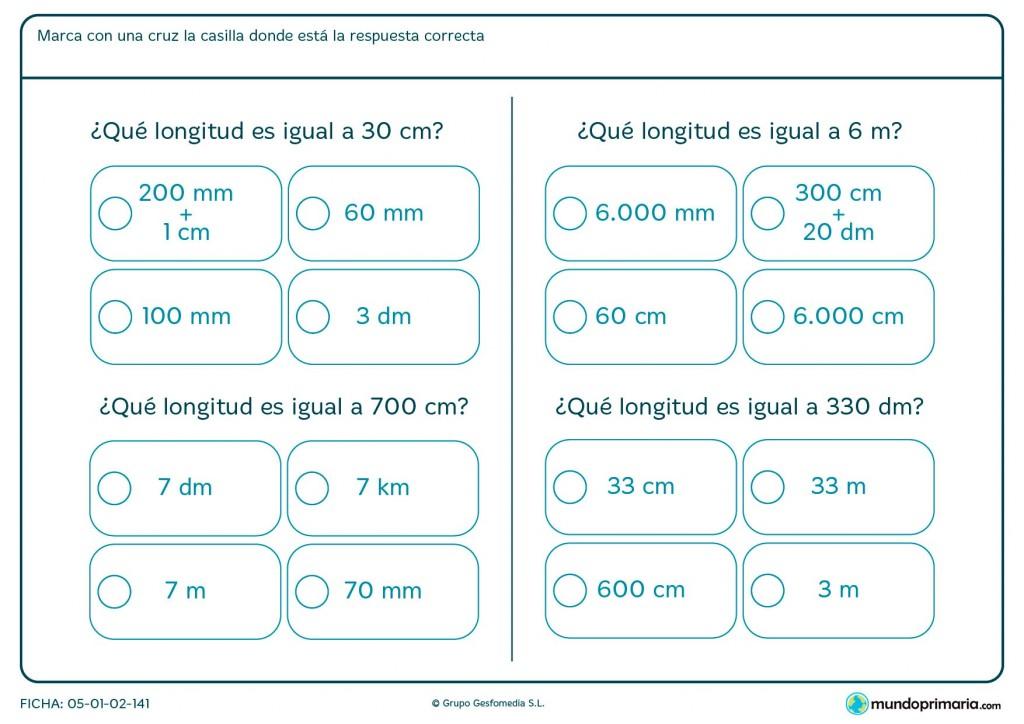 Ficha de hacer sumas de longitudes para Primaria