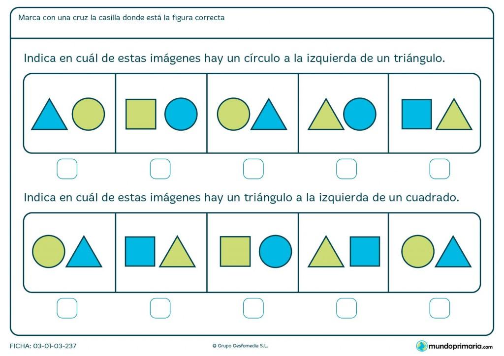 Ficha de identificar círculos, triángulos y posición para primaria