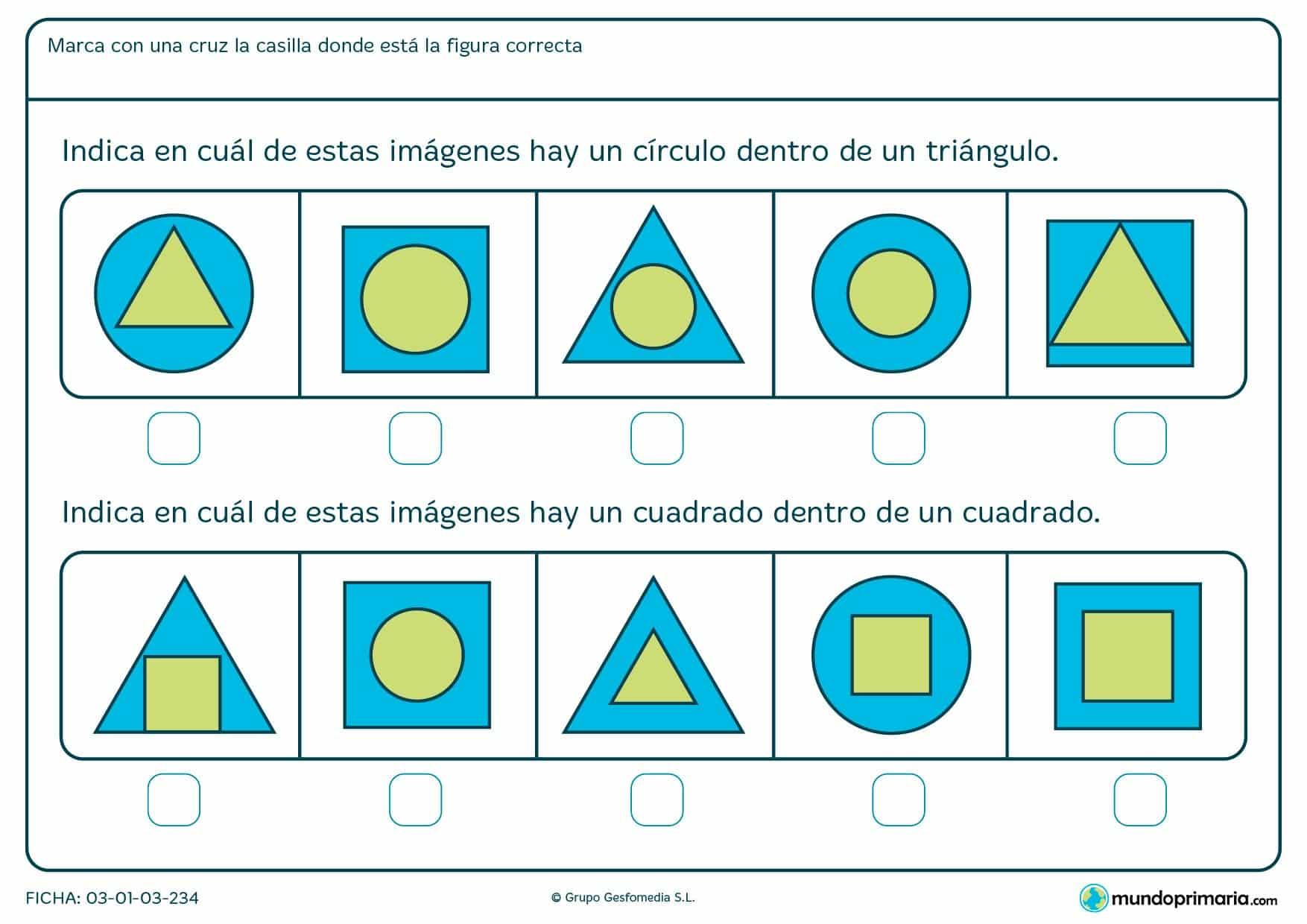 Ficha de identificar círculos y cuadrados en la que hay que hacer una marca en la figura correspondiente.