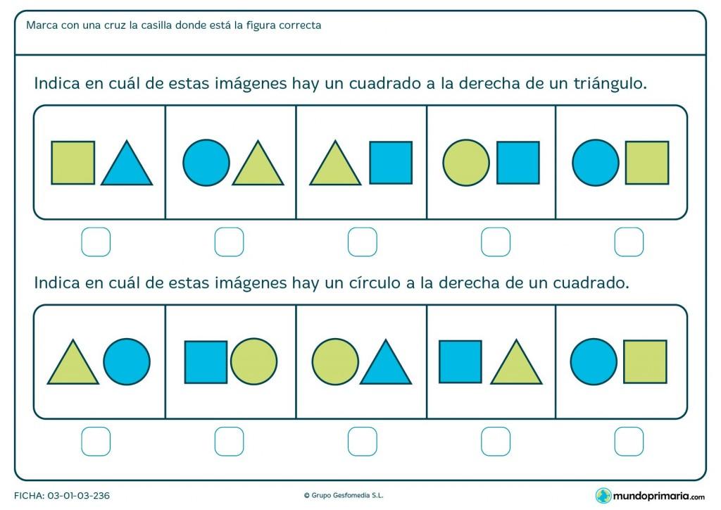 Ficha de identificar cuadrados, círculos y posición para primaria