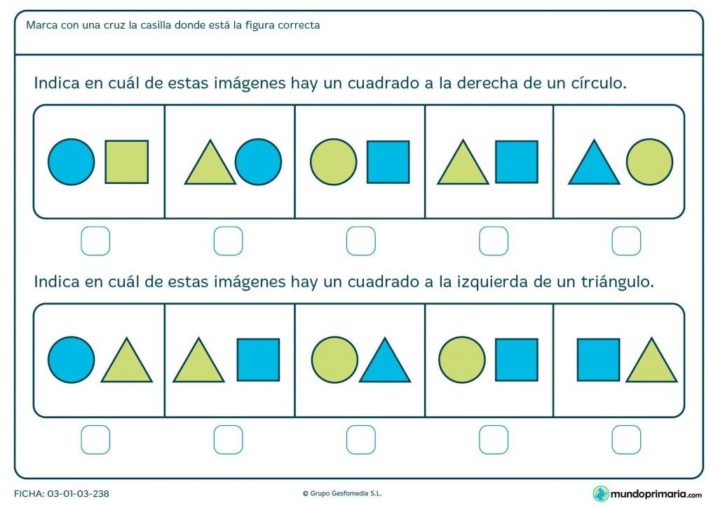Ficha de identificar cuadrados y posición para primaria