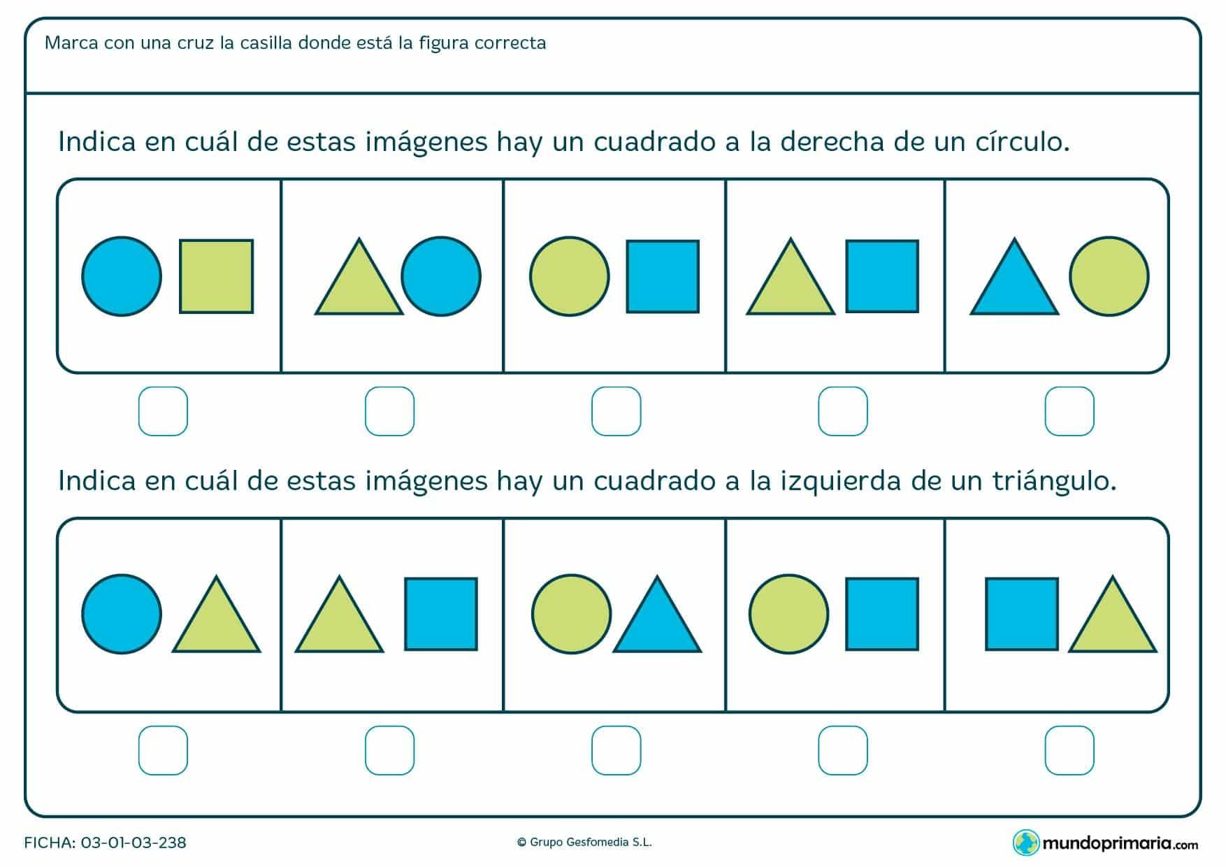 Ficha de identificar cuadrados y posición en la que hay que indicar cuál de las imágenes es la correcta.