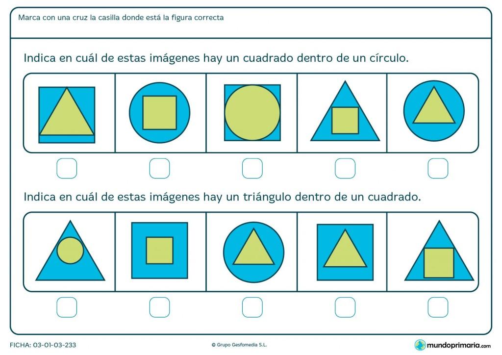 Ficha de identificar cuadrados y triángulos para primaria