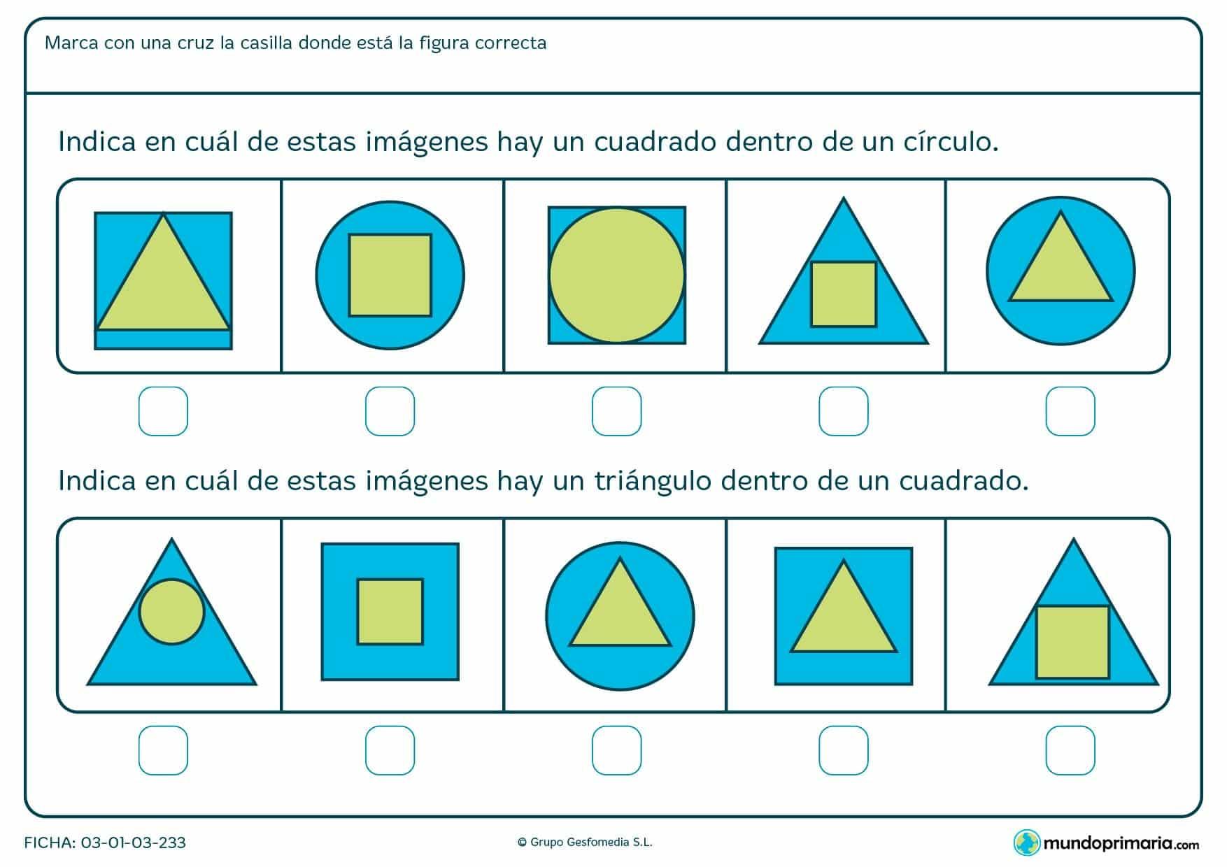 Ficha de identificar cuadrados y triángulos en la que hay que marcar con una cruz la casilla donde se encuentre la figura correcta.