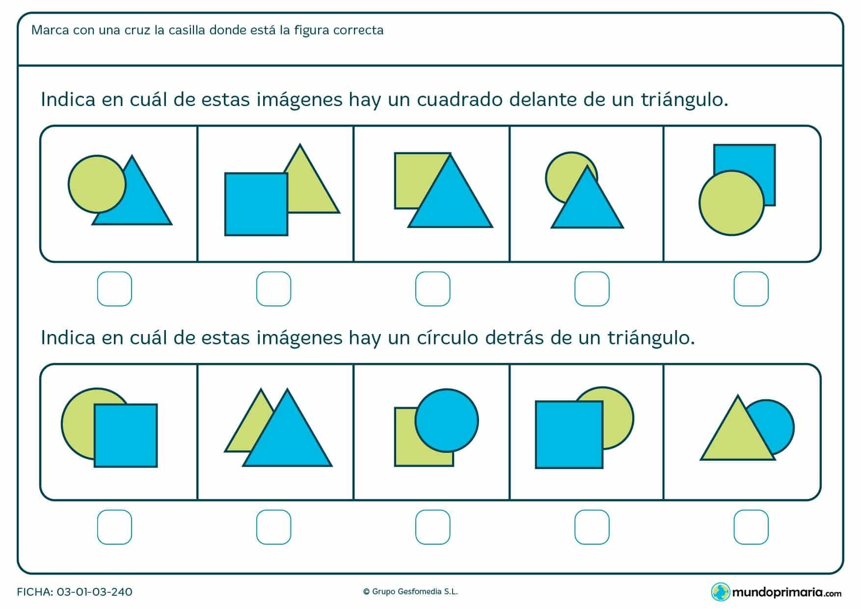 Ficha de indicar cuadrados, círculos y posición en la que hay que marcar la casilla en donde estén las figuras que corresponden.