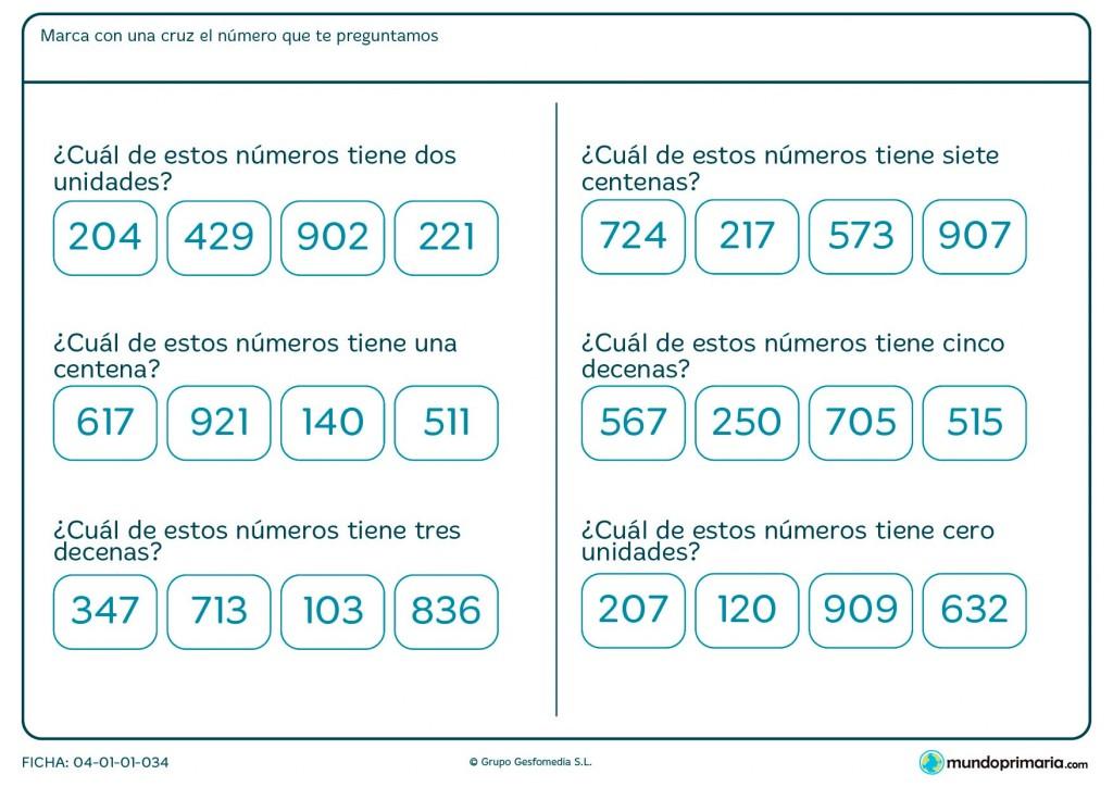 Ficha de indicar el número con dos unidades para Primaria