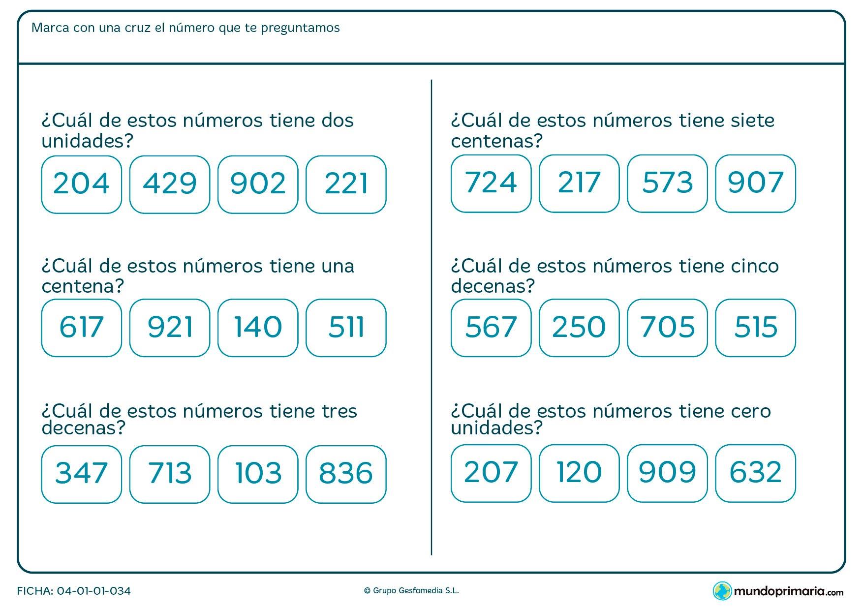 Ficha de indicar el número con dos unidades para Primaria por la que los niños tendrán que leer las condiciones pedidas y elegir el número que las cumple.