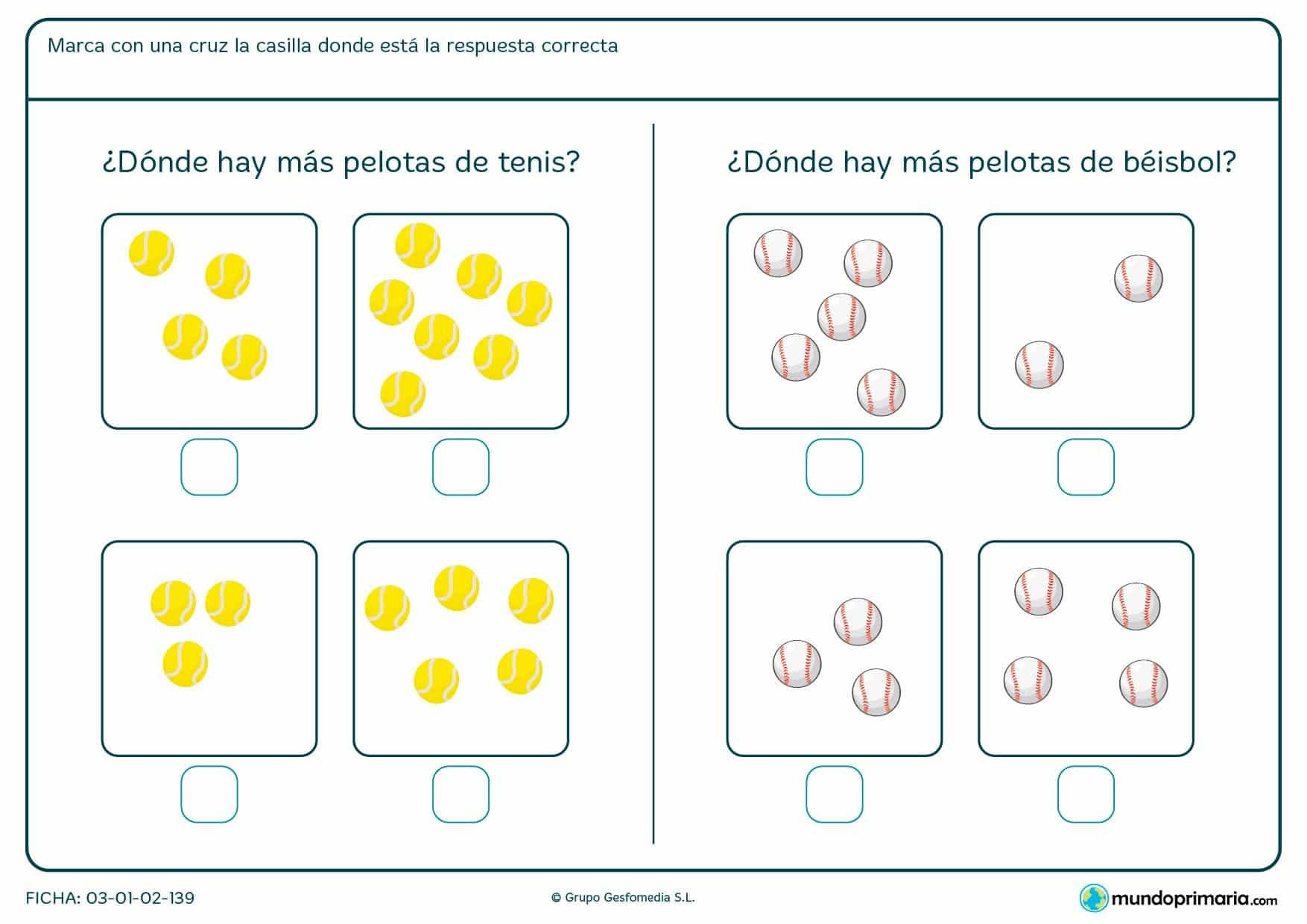 Ficha de indicar la imagen con más pelotas en el que hay que marcar la casilla correspondiente con una cruz.