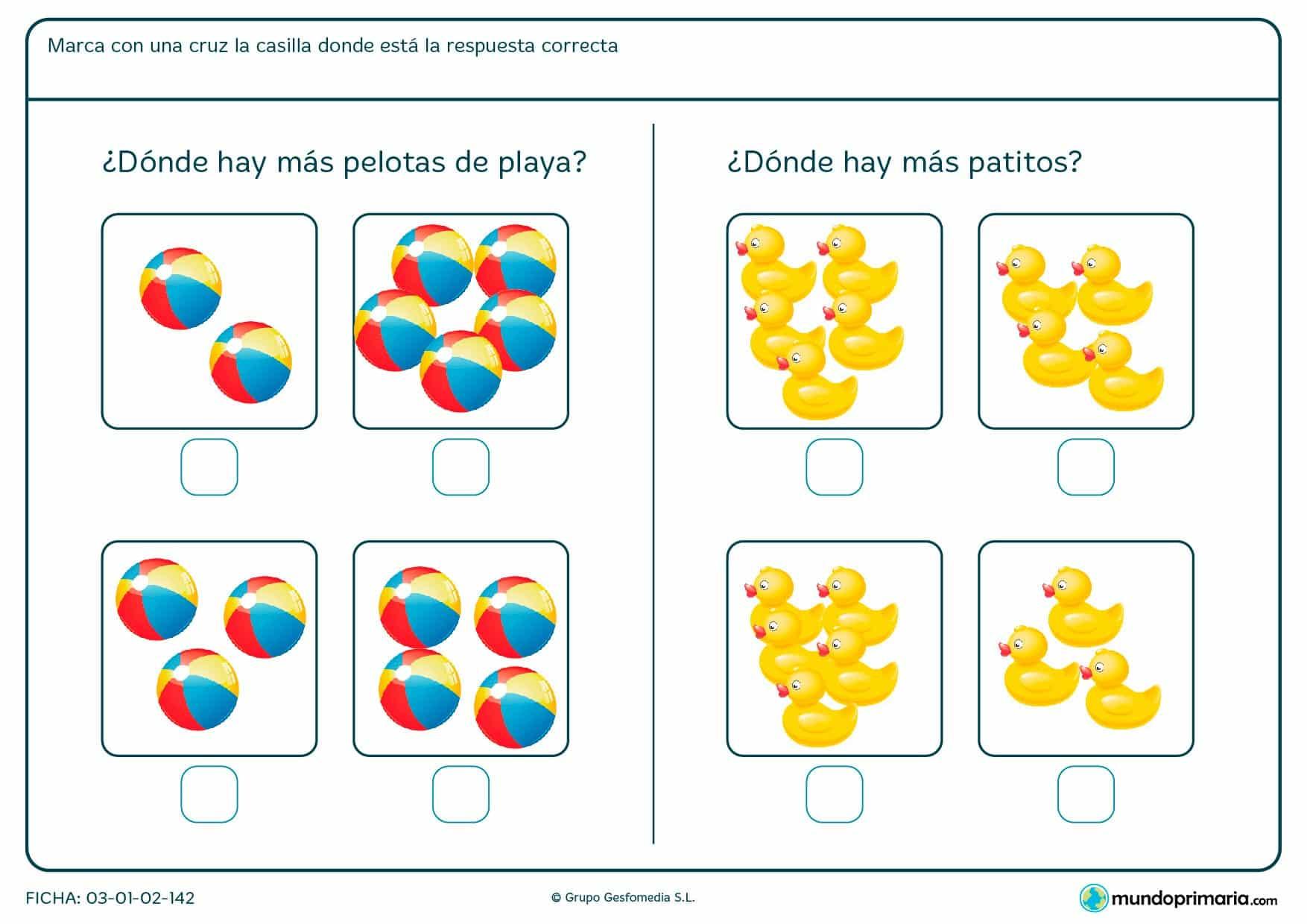 Ficha de indicar la imagen con mayor cantidad en el que hay que elegir la imagen correspondiente de entre las opciones propuestas.
