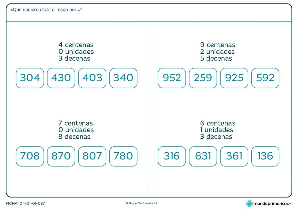 Ficha de indicar qué número está formado por una unidad para Primaria