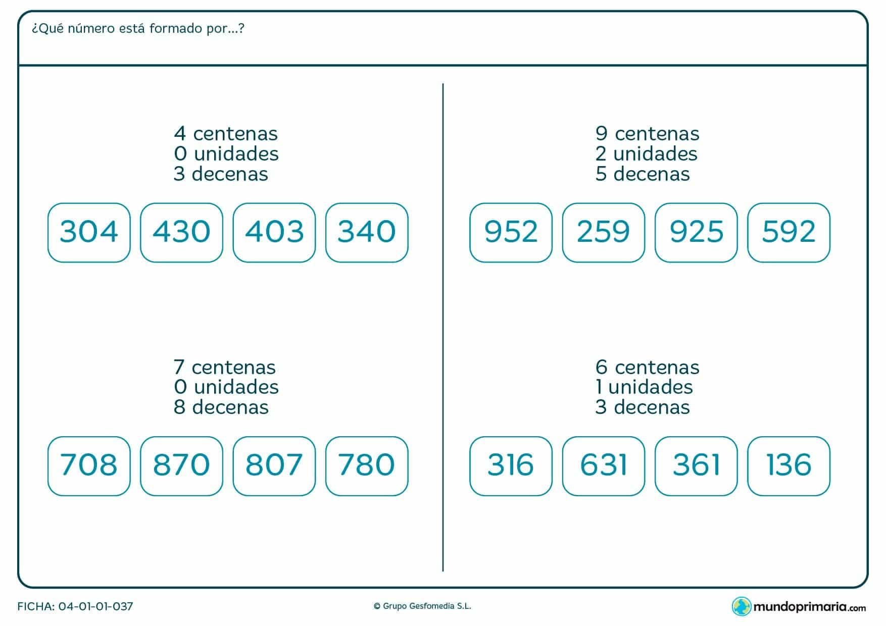 Ficha de indicar qué número está formado por una unidad para Primaria por la que los niños tendrán que elegir qué número cumple los requisitos.