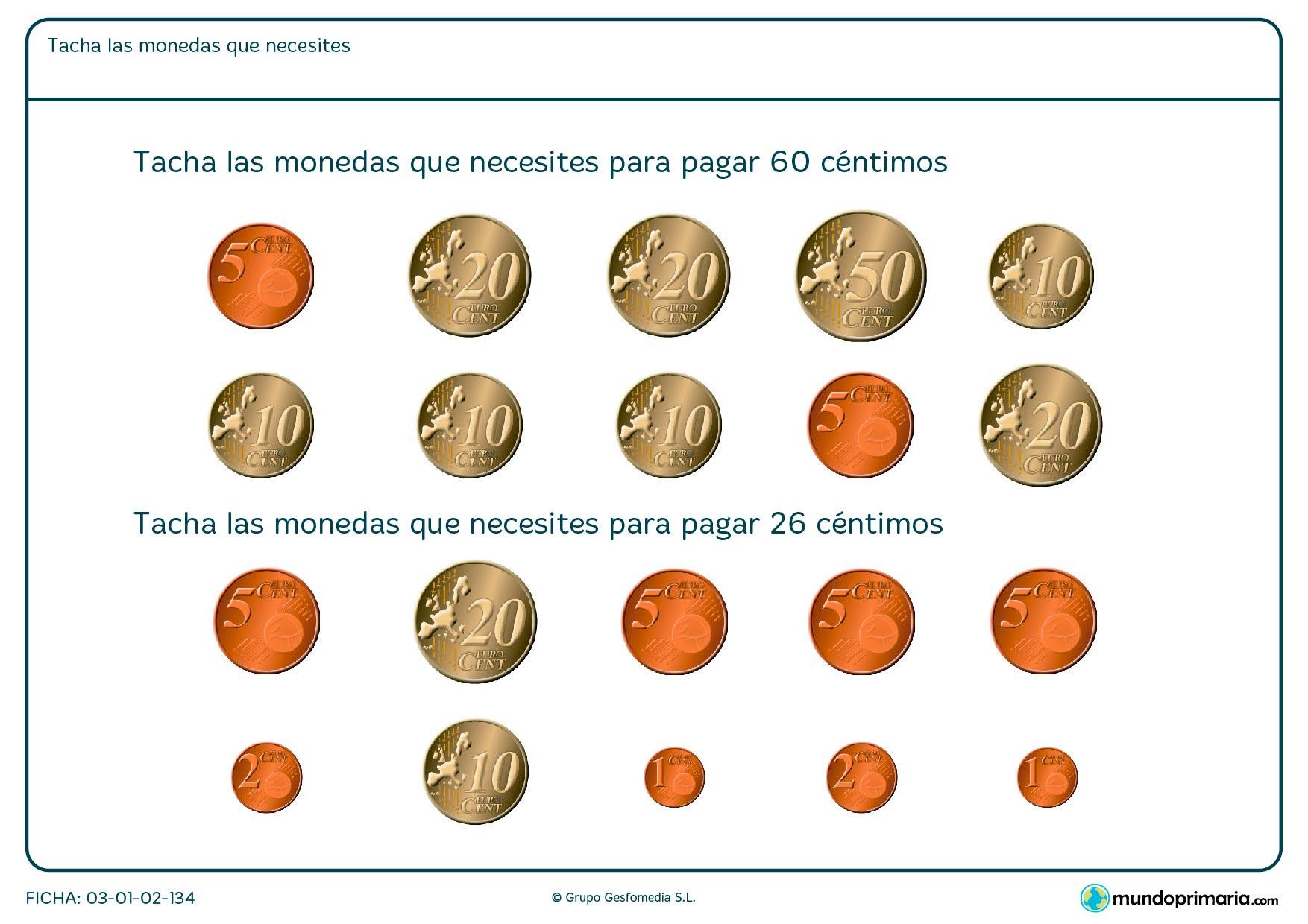 Ficha de las monedas correspondientes en la que hay que elegir qué monedas son necesarias para pagar la cantidad que te indican.