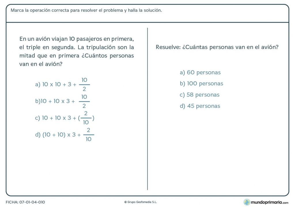 Ficha de marcar la combinación de operaciones correcta para Primaria