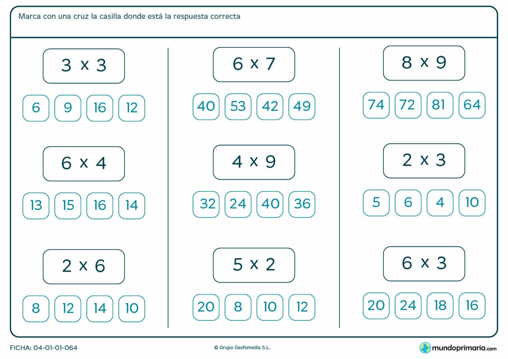 Ficha de marcar la solución de multiplicaciones de siete a ocho años por la que marcarán qué solución tienen las multiplicaciones indicadas de entre todas las posibles dadas.