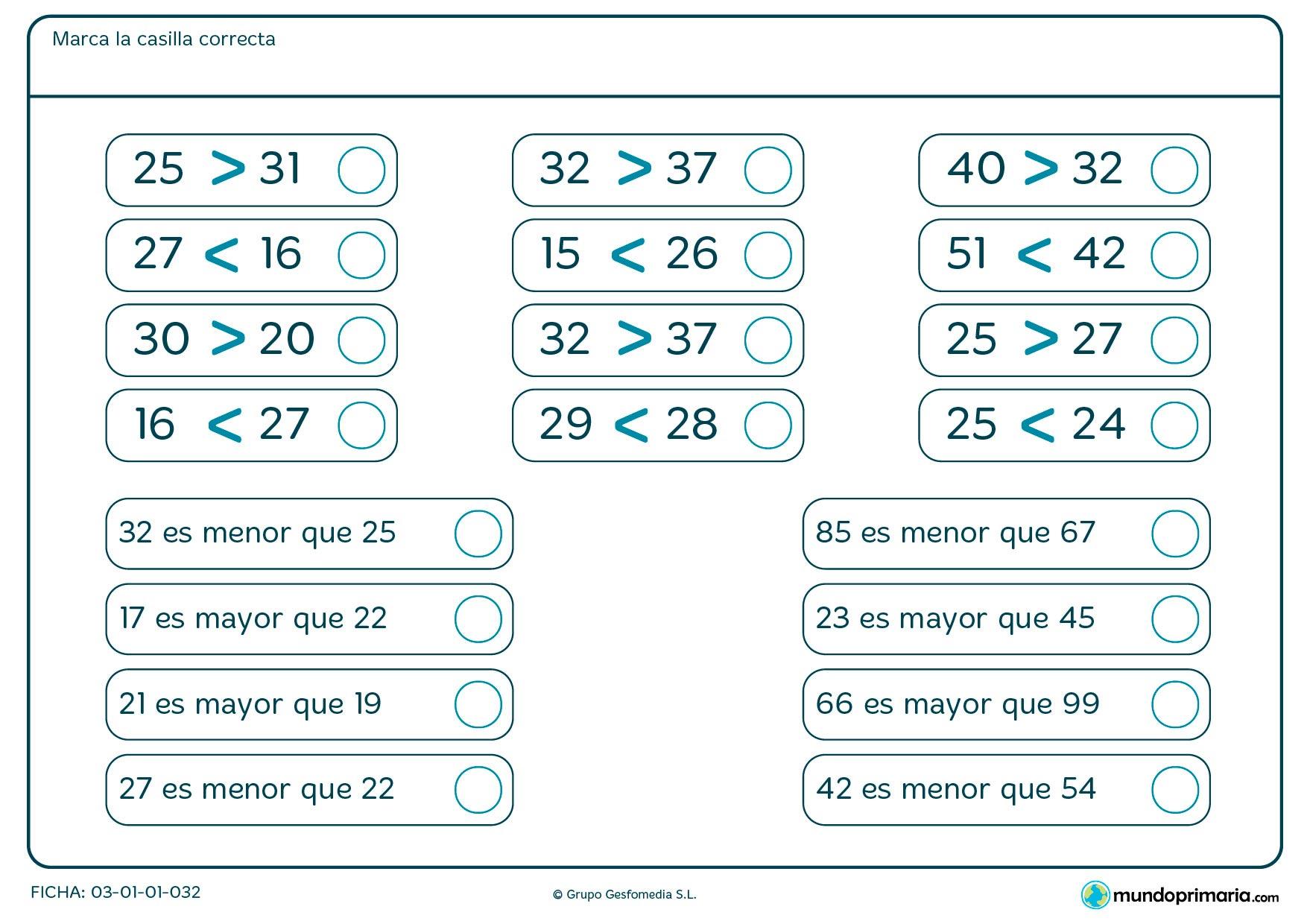 Ficha de marcar las casillas correctas en la que hay que ver qué número es mayor o menor.