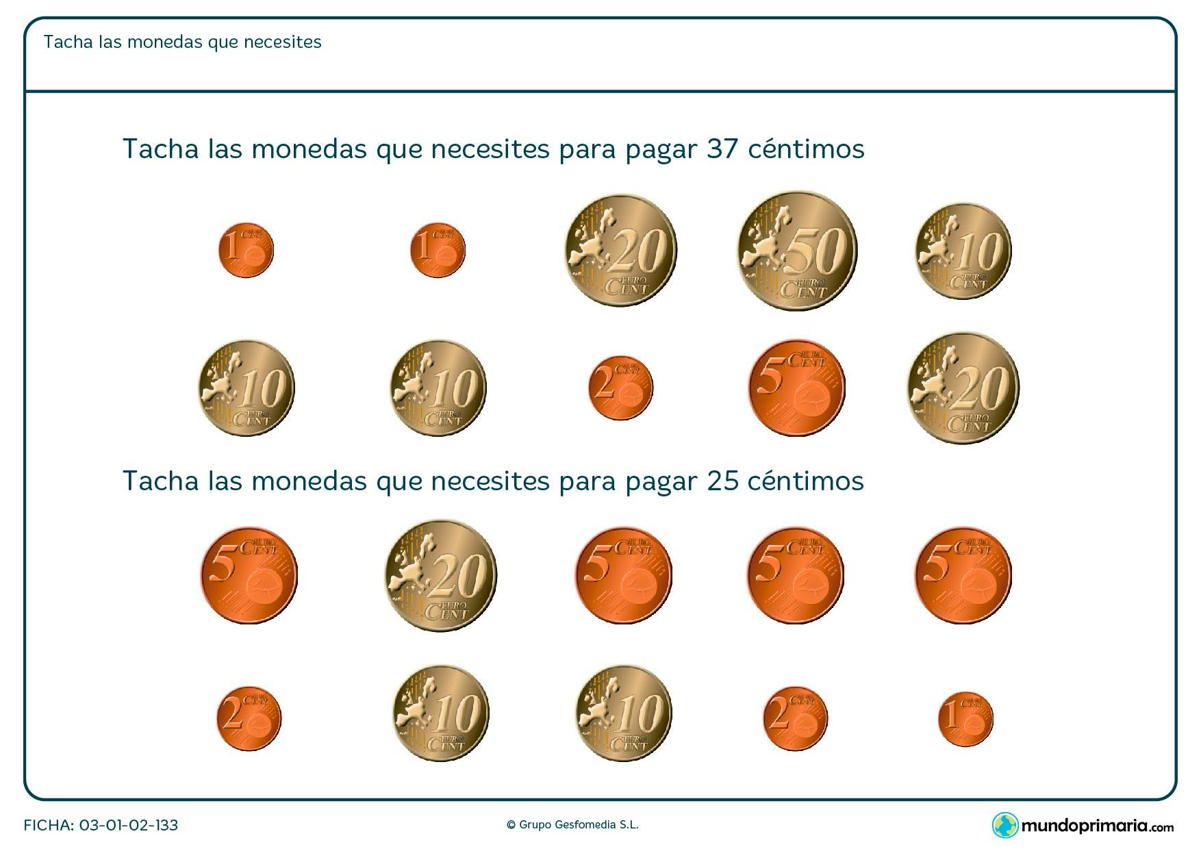 Ficha de monedas necesarias en la que hay que tachar las monedas que hagan falta para sumar las cantidades que te indican en los enunciados.