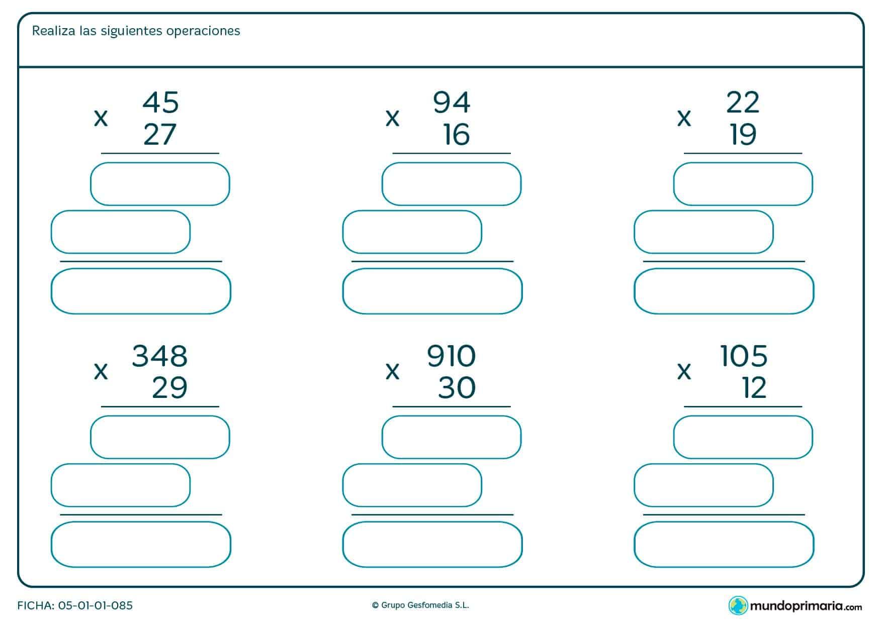 Completa los huecos al resolver estas multiplicaciones con llevada.
