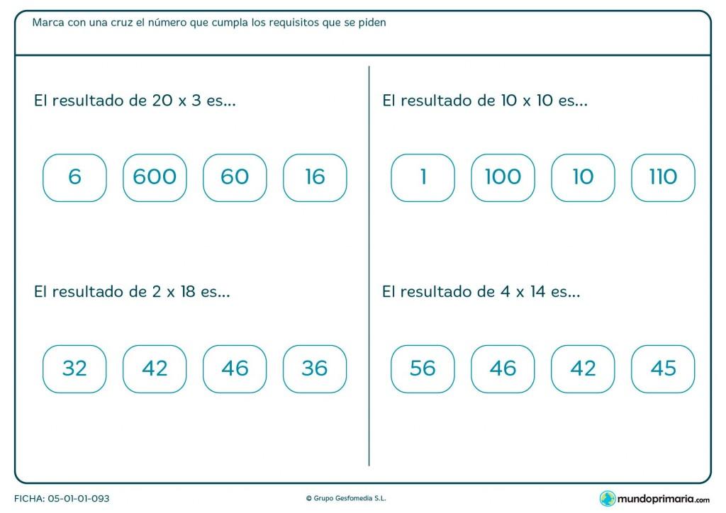 Ficha de multiplicar en horizontal números de dos cifras para Primaria