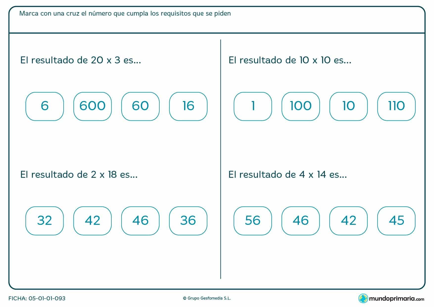 Señala las soluciones para estas multiplicaciones de números de dos cifras.