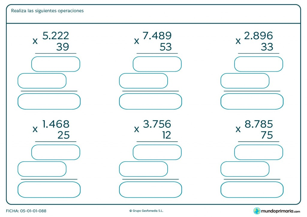 Ficha de multiplicar números de cuatro cifras para Primaria