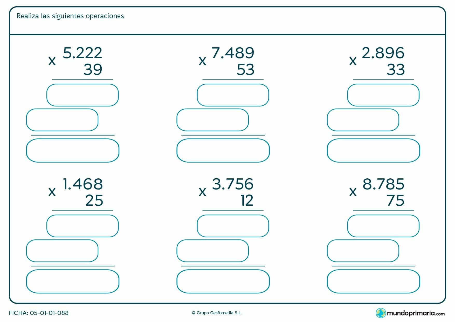Multiplica estos números de cuatro cifras por los números de dos cifras propuestos en la ficha.