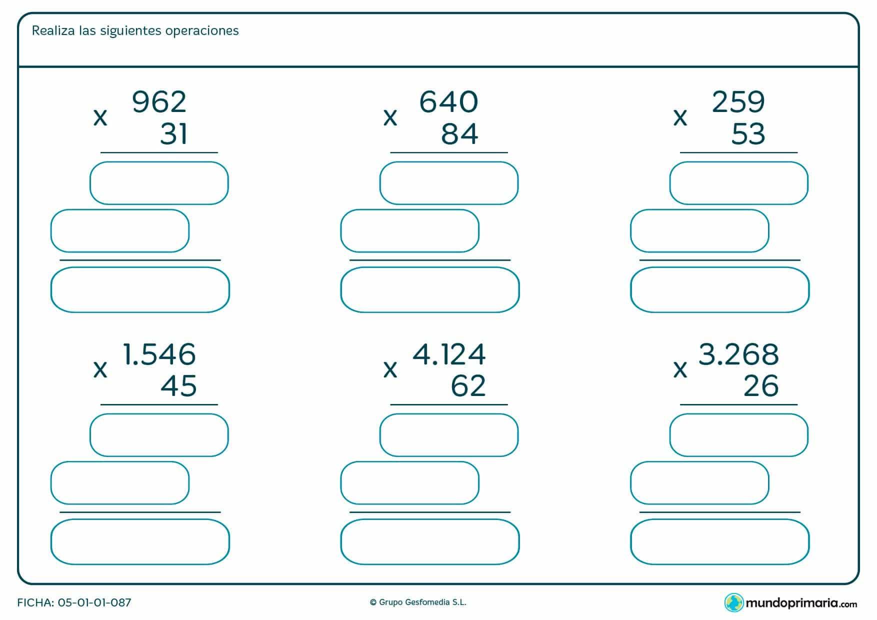 Realiza estas multiplicaciones de números de dos cifras por números de tres cifras y completa la ficha.