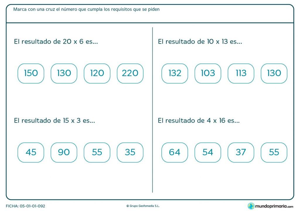 Ficha de multiplicar números en horizontal para Primaria