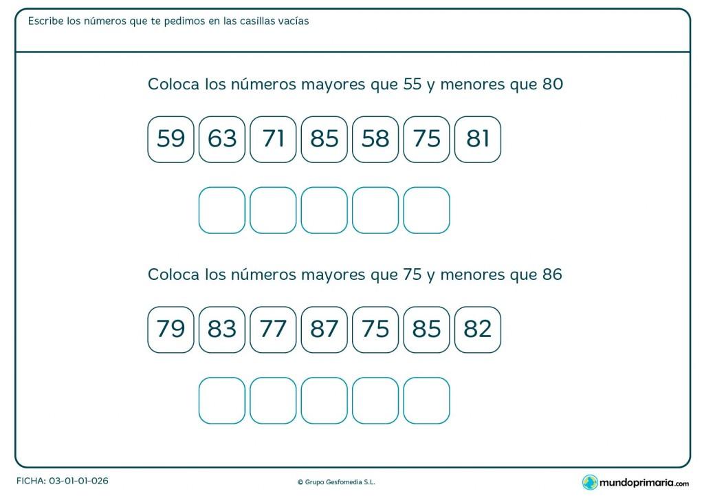 Ficha de números entre el 55 y el 80 para Primaria