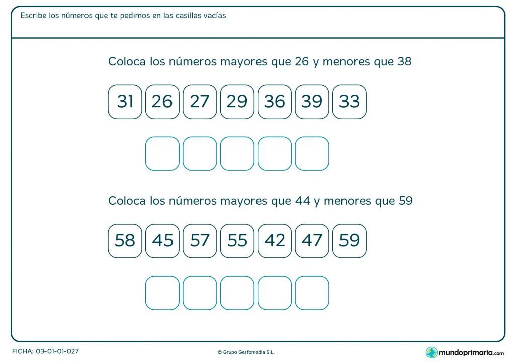 Ficha de números situados entre 26 y 38 para Primaria