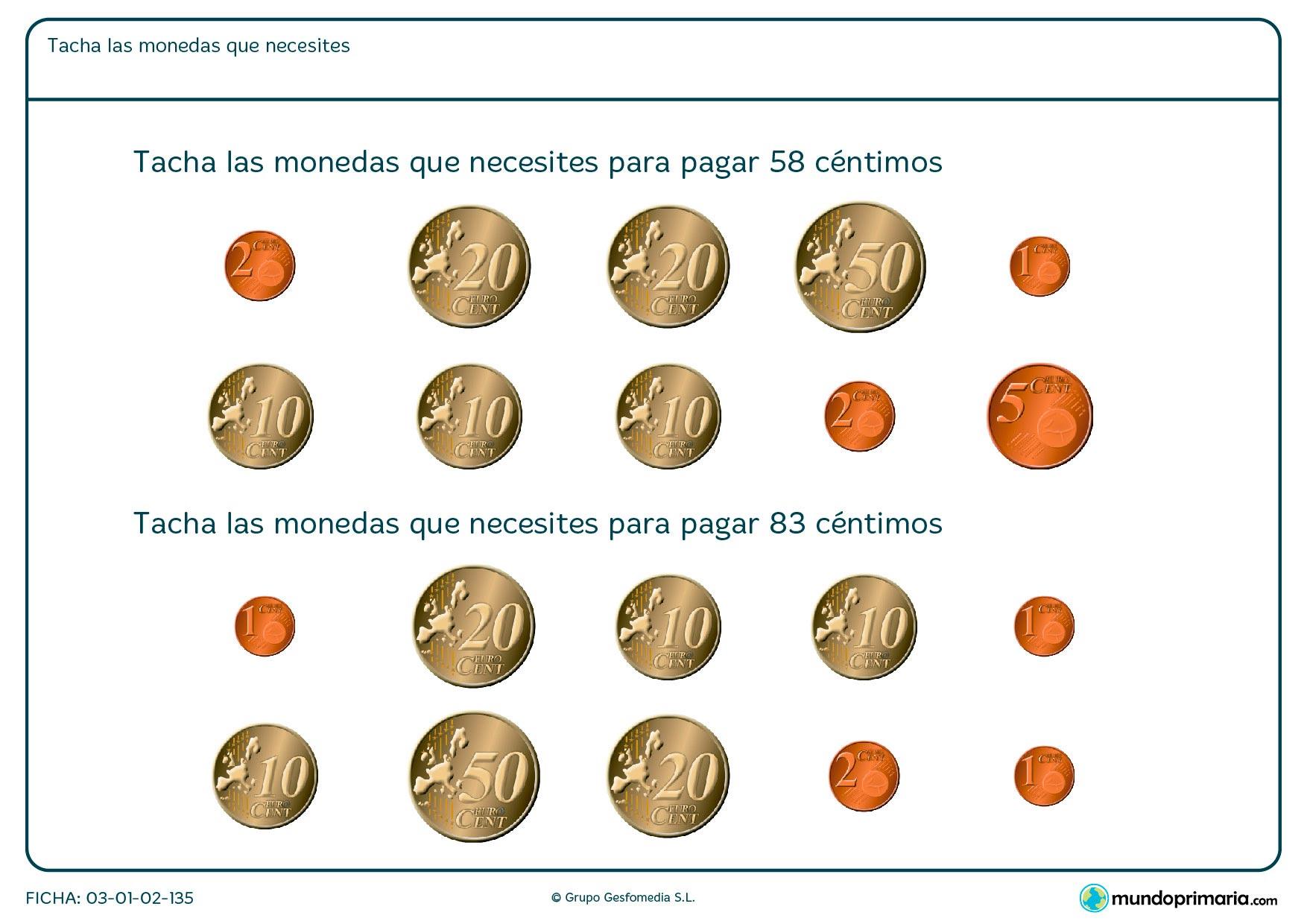 Ficha de pagar las monedas en la que hay que seleccionar el dinero que necesitas para pagar cierta cantidad.