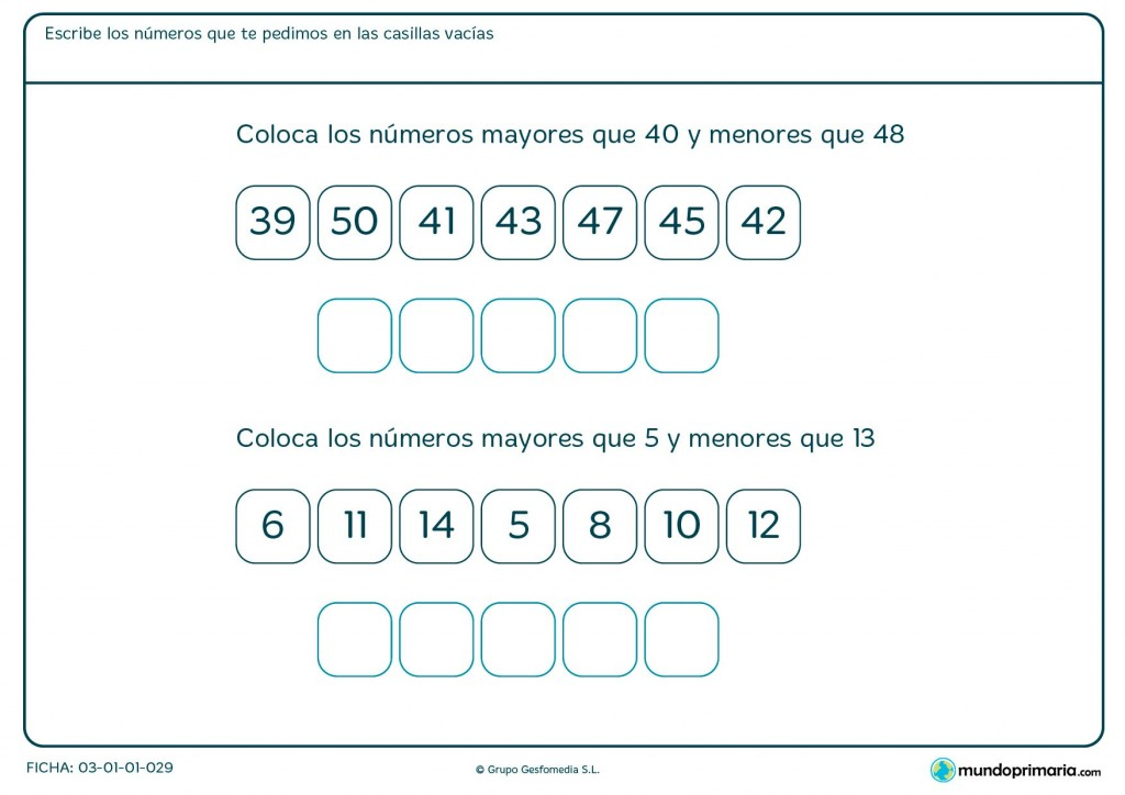 Ficha de poner números entre el 40 y el 48 para Primaria